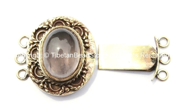 OOAK Tibetan Handmade Brass Clasp with Rose Quartz Inlay - Handmade Findings -  Tibetan Jewelry - Tibetan Beads - Ethnic Clasps - B2683