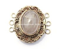 OOAK Tibetan Handmade Brass Clasp with Rose Quartz Inlay - Handmade Findings -  Tibetan Jewelry - Tibetan Beads - Ethnic Clasps - B2680