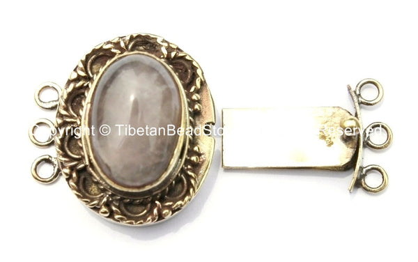 OOAK Tibetan Handmade Brass Clasp with Rose Quartz Inlay - Handmade Findings -  Tibetan Jewelry - Tibetan Beads - Ethnic Clasps - B2685