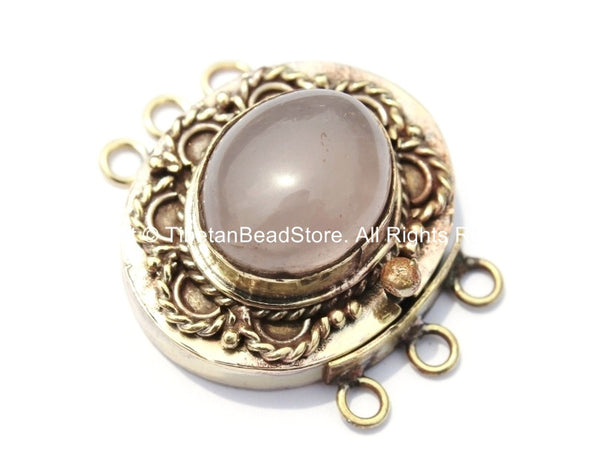 OOAK Tibetan Handmade Brass Clasp with Rose Quartz Inlay - Handmade Findings -  Tibetan Jewelry - Tibetan Beads - Ethnic Clasps - B2687