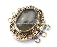 OOAK Tibetan Handmade Brass Clasp with Rose Quartz Inlay - Handmade Findings -  Tibetan Jewelry - Tibetan Beads - Ethnic Clasps - B2694