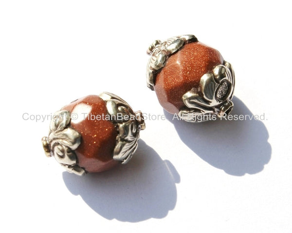 Tibetan Brown Goldstone Beads with Repousse Tibetan Silver Caps- 1 Bead - Faceted Brown Goldstone Monks Stone Beads - B1841-1