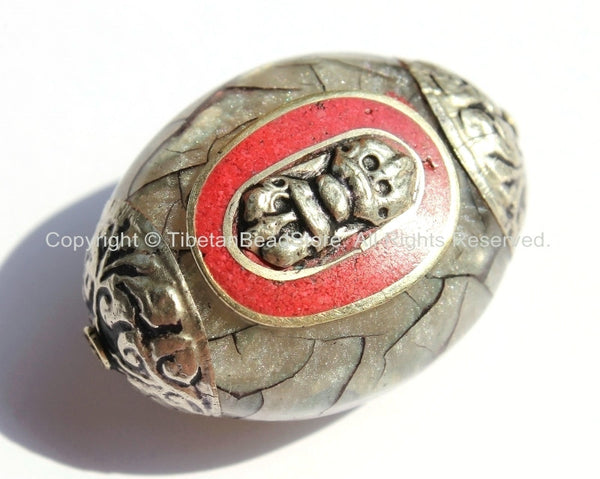 1 Bead - LARGE Reversible Tibetan Silver Grey Crackle Resin Focal Bead with Repousse Tibetan Silver Vajra Dorje, Caps & Coral Inlay- B2032-1