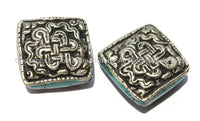 2 Beads - Large Tibetan Repousse Tibetan Silver Endless Knot Beads with Turquoise Side Inlays- Big Square Diamond Shape Focal Beads- B2255-2