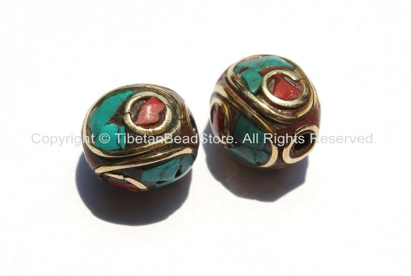 2 beads - Tibetan Oval Beads with Brass, Turquoise & Coral Inlays - B2363