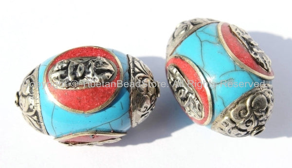 2 BEADS - Large Tibetan Blue Resin Bead with Tibetan Silver Caps & Auspicious Conch, Red Copal Inlays - LARGE Ethnic Focal Bead - B2512-2