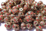 10 BEADS - Tibetan Sphere Ball Shape Beads with Brass, Coral Inlays - Soccer Sphere Ball Shape Ethnic Tibetan Beads - B2578-10