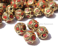 4 BEADS - Tibetan Sphere Ball Shape Beads with Brass, Coral Inlays - Soccer Sphere Ball Shape Ethnic Tibetan Beads - B2578-4