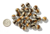 2 BEADS - Tibetan Tigers Eye Beads with Tibetan Silver Caps - Ethnic Tribal Nepalese Tibetan Beads - B2726-2