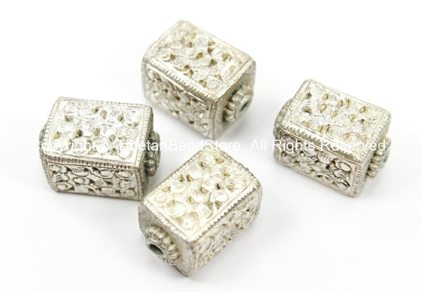 1 BEAD - Silver Plated Repousse Filigree Carved Box Shaped Tibetan Bead with Floral Details - Tibetan Box Beads - Tibetan Beads - B2748-1