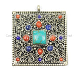 Tibetan Filigree Square Pendant with Turquoise, Coral & Lapis Inlay- TibetanBeadStore- Ethnic Nepal Tibetan Beads Pendants Jewelry - WM5671C