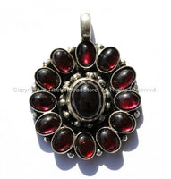 Nepalese Floral Pendant with Deep Red Onyx Garnet Inlay - Ethnic Nepal Tibetan Pendant - Tibetan Jewelry - WM12