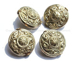 4 BEADS - Large Repousse Carved Floral Design Disc Shape Focal Pendant Tibetan Beads - Ethnic Nepal Tibetan Silver Beads - B2455-4