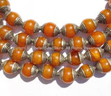 2 BEADS - Tibetan Amber Color Resin Beads with White Metal Caps - Ethnic Tribal Tibetan Beads - B2135S-2