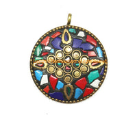 Ethnic Tibetan Floral Pendant with Brass, Mosaic Howlite Inlays - Multi-colored Mosaic Inlaid Round Tibetan Pendant Jewelry- WM7341