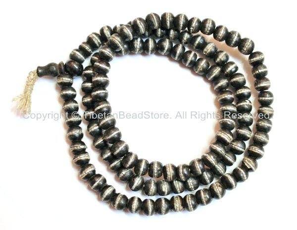 Black Bone Mala Tibetan Prayer Beads with Tibetan Silver Metal Ring Inlays - 108 Beads - Tibetan Prayer Beads Mala Making Supplies