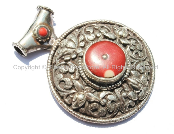 Large Ethnic Tibetan Pendant with Repousse Carved Lotus Floral Details & Red Colored Coral Inlays - Large Tribal Tibetan Pendant - WM5431