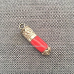 Ethnic Tribal Tibetan Coral Stick Pendant with Tibetan Silver Repousse Floral Repousse Caps - 13mm x 51mm - Red Coral Pendant - WM7445D