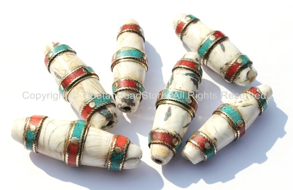 Ethnic Tibetan Naga Conch Shell Large Long Thick Bead with Brass Bands, Turquoise & Coral Inlays - 1 bead - B1877-1