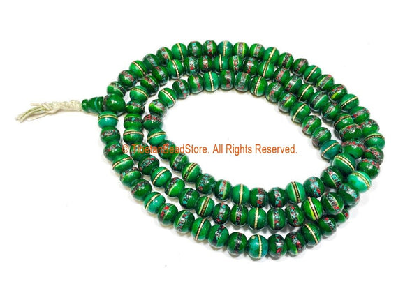 108 BEADS 9-10mm Tibetan Green Color Bone Mala Prayer Beads with Turquoise, Coral & Metal Inlays- Ethnic Green Bone Mala Beads- PB148G