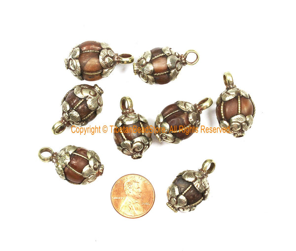 Old Carnelian Melon-Shaped Ethnic Tibetan Charm Pendant with Tibetan Silver Wire Inlay & Repousse Floral Caps - WM7985A