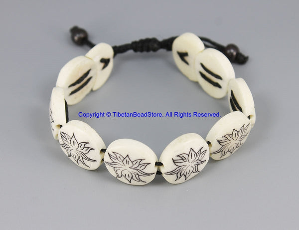 Adjustable Tibetan Lotus Flower Design Bone Wrist Bracelet Buddhist Yoga Tribal Bracelet Nepal Tibet Carved Bone Bracelet- C290