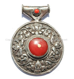 Large Ethnic Tibetan Pendant with Repousse Carved Lotus Floral Details & Red Coral Inlays - Large Ethnic Tribal Tibetan Pendant - WM5432