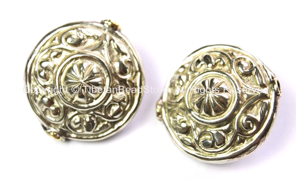 2 BEADS Large Repousse Carved Floral Design Disc Shape Focal Pendant Tibetan Beads - Ethnic Nepal Tibetan Silver Beads - B2455-2