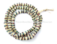 108 beads - 8mm Size White Bone Tibetan Mala Prayer Beads with Turquoise & Coral Inlays - Mala Making Supply - PB27