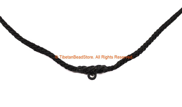 "Black Handwoven Cord Necklace 4mm Thick Cord 25"" Necklace - Unisex Boho Surfer Jewelry Cord Choker - © TibetanBeadStore - BK29"