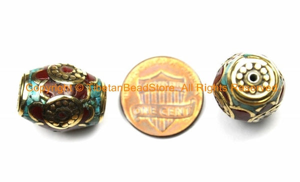 1 BEAD - Tibetan Thick Bicone Bead with Brass, Turquoise & Coral Inlays - Box Rectangular Bicone Barrel Drum Shape Beads - B3133-1