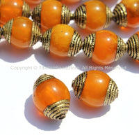 2 BEADS - Tibetan Amber Copal Resin Beads with Brass Caps - Ethnic Tribal Tibetan Beads - Tibetan Amber Beads - B2135-2