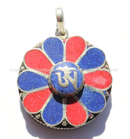 Tibetan OM Mantra Flower Ghau Prayer Box Amulet Pendant with Lapis & Coral Inlays - Tibetan OM Pendant - Handmade Tibetan Jewelry - WM5165ML