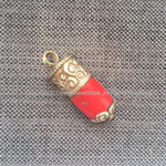 Ethnic Tribal Tibetan Coral Stick Pendant with Tibetan Silver Repousse Floral Repousse Caps - 16mm x 44mm - Red Coral Pendant - WM7445E