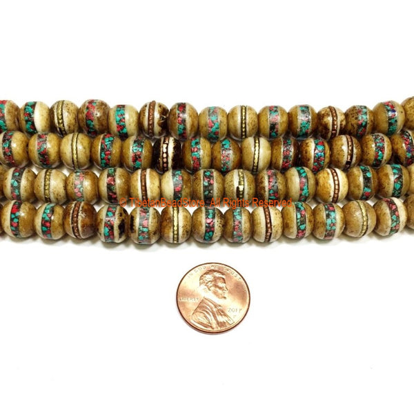 20 BEADS - 9-10mm Tibetan Antiqued Bone Beads with Brass, Turquoise & Coral Inlays - Tibetan Beads - Mala Making Supply - LPB91-20