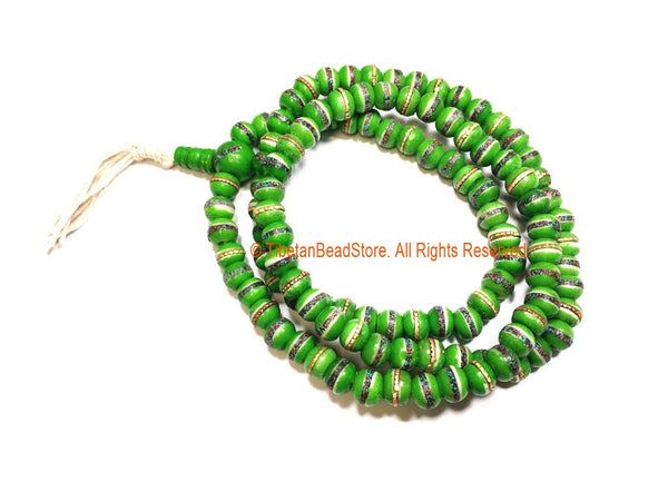 Lighter Green Bone Prayer Beads with Turquoise, Coral & Metal Inlays - 8mm Size 108 Beads - Tibetan Bone Mala - Bone Prayer Beads- PB163