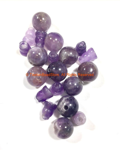 5 SETS - Tibetan Amethyst Guru Bead Sets - 3 Hole Guru Beads Gemstone Guru Beads Tibetan Prayer Beads Mala Making Supply - GB26B-5