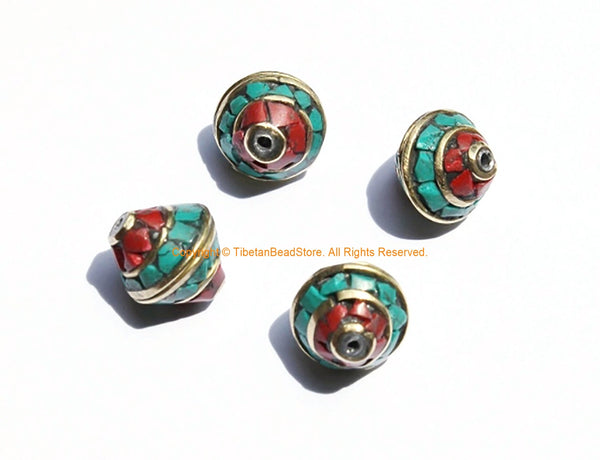 4 BEADS Nepalese Bicone Beads with Brass, Turquoise & Coral Inlays - Brass Inlaid Nepal Tibetan Beads - 12mm x 10mm - B3131-4