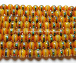 50 BEADS - 8mm wide Tibetan Amber Beads with Turquoise, Coral & Metal Inlays - 8mm Inlaid Amber Color Resin Beads - LPB16S-50