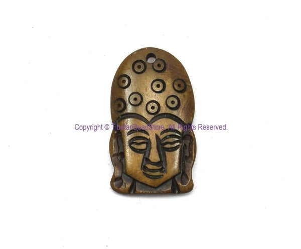 Ethnic Tribal Buddha Head Design Handmade Carved Bone Pendant - WM7912-1