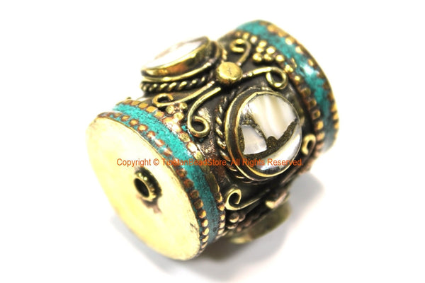 1 BEAD - LARGE Barrel Shape Tube Tibetan Brass Bead with Turquoise and Mother of Pearl Shell Inlays - Ethnic Tibetan Focal Bead- B3351-1