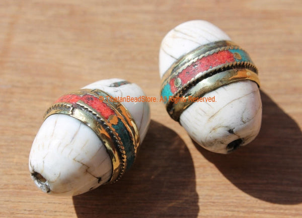 2 BEADS - Ethnic Tibetan Thick Oval Naga Conch Shell Beads with Brass Rings, Turquoise & Coral Inlays - Artisan Handmade Beads - B1894-2