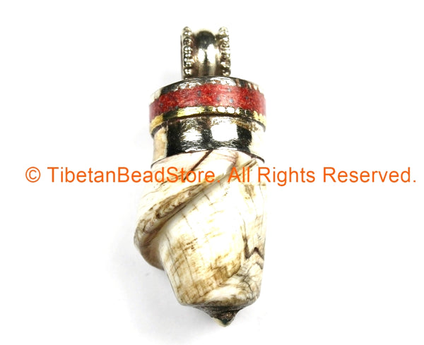 Tibetan Twisted Spiral Solid Naga Conch Shell Pendant with Coral Inlay Metal Cap- Boho Ethnic Tribal Amulet- TibetanBeadStore - WM7194
