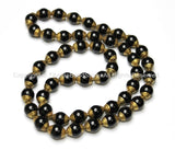 10 BEADS - Tibetan Black Onyx Beads with Brass Caps - Ethnic Nepal Tibetan Artisan Handmade Beads - B1808-10