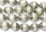 10 BEADS - Tibetan Pearl Beads with Tibetan Silver Caps - Ethnic Tibetan Handmade Beads - B1410-10