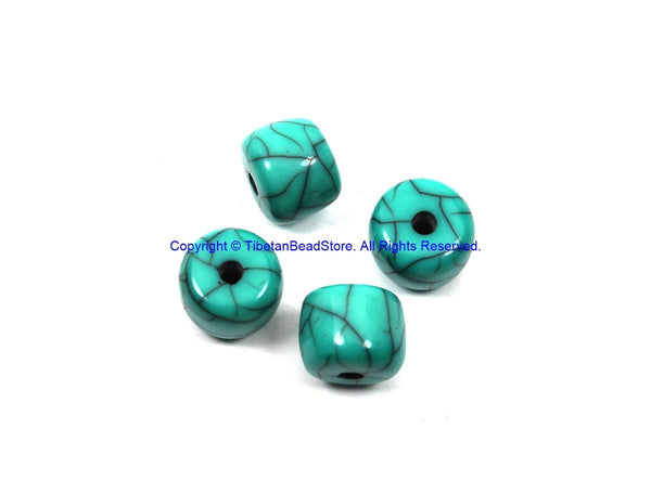 4 BEADS Blue Crackle Resin Beads - Blue Color Resin Beads - Big Turquoise Blue Color Beads - B3204-4