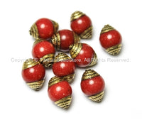10 BEADS - Tibetan Red Jade Beads with Handmade Repousse Brass Caps - Tibetan Beads - TibetanBeadStore - B1411-10