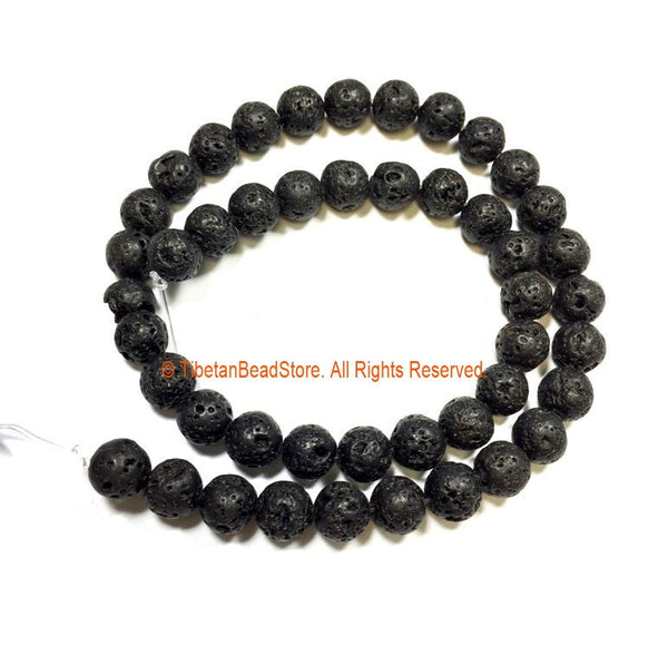 8mm Black Lava Rock Round Beads - 1 STRAND Round Beads - Approx 45 Beads Gemstone Beads Strand - Jewelry Making Bead Supplies - GM94