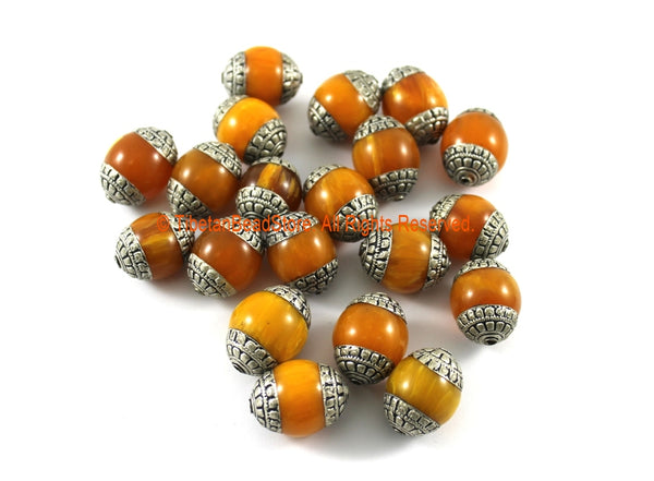 2 BEADS - Tibetan Honey Amber Color Resin Beads with Repousse Tibetan Silver Caps- TibetanBeadStore Ethnic Nepal Tibetan Beads- B3318-2