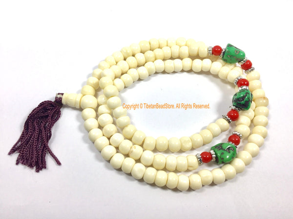 Ethnic Tibetan White Bone Mala Prayer Beads - Buddhist Tibetan Rosary Prayer Beads Meditation Supplies - Tribal Bone Mala from Nepal - PB208